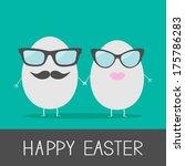 egg easter couple with lips ... | Shutterstock .eps vector #175786283