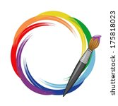 paint brush rainbow background. | Shutterstock .eps vector #175818023