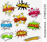 Collection of nine multicolored comic sound Effects | Shutterstock vector #175851233