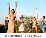 bride throwing the bridal... | Shutterstock . vector #175875323