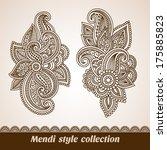 vector set of floral pattern...   Shutterstock .eps vector #175885823