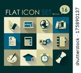 education icon set vector flat...