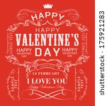 happy valentines day cards with ... | Shutterstock .eps vector #175921283