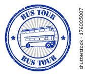 bus tour grunge rubber stamp on ... | Shutterstock .eps vector #176005007