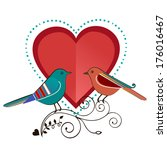 love birds with heart  | Shutterstock .eps vector #176016467