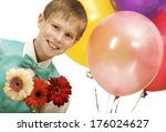 smiling boy with balloons and ... | Shutterstock . vector #176024627