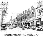 city street  sketchbook   Shutterstock . vector #176037377