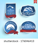 Mountain icons set. Mountain climbing. Climber. Ski Resort labels collection. Vector.