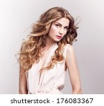 fashion model with blonde curly ... | Shutterstock . vector #176083367