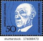Small photo of GERMANY - CIRCA 1968: A stamp printed by GERMANY shows image portrait of German statesman Konrad Hermann Joseph Adenauer, circa 1968