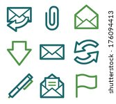 email web icons  green line set | Shutterstock .eps vector #176094413