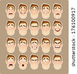 a young man emotions  | Shutterstock . vector #176100917