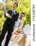 happy young newlywed couple... | Shutterstock . vector #176108783