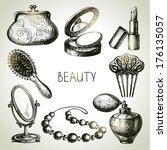 Beauty Sketch Icon Set. Vintag...