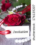 label with invitation and roses ... | Shutterstock . vector #176135207
