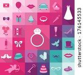 set of wedding vintage elements ... | Shutterstock .eps vector #176145533