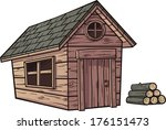 Cartoon Wooden Cabin. Vector...