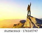 winner on mountain top. sport...   Shutterstock . vector #176165747
