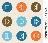 media player web icons   color... | Shutterstock .eps vector #176179517