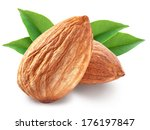 almonds with leaves isolated on ...   Shutterstock . vector #176197847