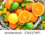 Citrus Fruits In Rustic...