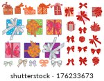 big set of boxes and bows | Shutterstock .eps vector #176233673