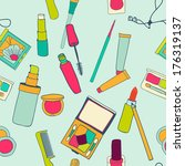 set of makeup objects. vector... | Shutterstock .eps vector #176319137