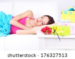 beautiful young woman sleeping... | Shutterstock . vector #176327513