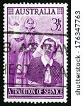 Small photo of AUSTRALIA - CIRCA 1955: a stamp printed in the Australia shows Florence Nightingale and Modern Nurse, Centenary of the Founding of Modern Nursing, circa 1955