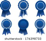 Vector Blue Award Rosette  ...