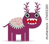 cute cartoon monster on a white ... | Shutterstock .eps vector #176431283
