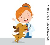 Veterinarian. Vector illustration of an attractive lady veterinarian with a cute puppy.