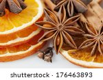 sliced dried orange with  anise ... | Shutterstock . vector #176463893