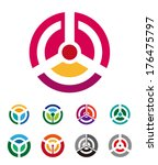 round wave icon set. abstract... | Shutterstock .eps vector #176475797