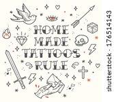 old school tattoo elements.... | Shutterstock .eps vector #176514143