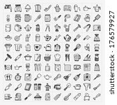 doodle kitchen icons | Shutterstock .eps vector #176579927