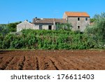 Old Farmhouse With Field Of...