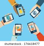 concept for mobile apps  flat... | Shutterstock .eps vector #176618477
