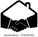 black handshake icon with home... | Shutterstock .eps vector #176639363