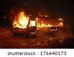 Burning Police Bus. Kyiv ...