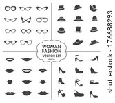 woman fashion set    glasses ... | Shutterstock .eps vector #176688293