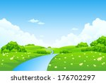 green landscape with trees ... | Shutterstock .eps vector #176702297