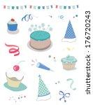 boys birthday vector party... | Shutterstock .eps vector #176720243