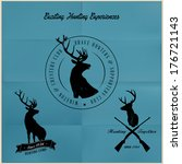 adventure,animal,badge,club,deer,design,emblem,gun,hunt,hunter,label,nature,reindeer,retro,rifle