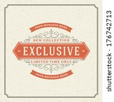 Exclusive advertising vintage graphics. Vector design element. Discount sale sign. . Flourishes calligraphic.