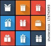 colorful gift box icon set... | Shutterstock .eps vector #176743493