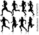 set of silhouettes. runners on... | Shutterstock .eps vector #176765573