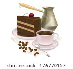cup of coffee and delicious... | Shutterstock .eps vector #176770157