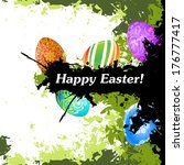 grungy easter background with... | Shutterstock .eps vector #176777417