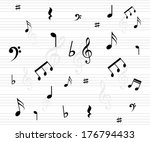 beautiful music background with ... | Shutterstock . vector #176794433